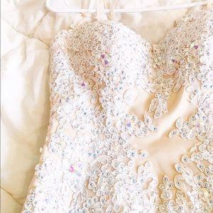 Angela & Alison  Dresses & Skirts - Angela & Alison Nude Beaded Strapless Dress