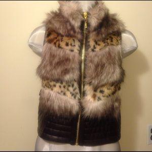 Faux Cheetah Print Fur/ Faux Leather Trim Vest