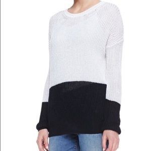 Vince Sweaters - Vince black white knit sweater colorblock loose