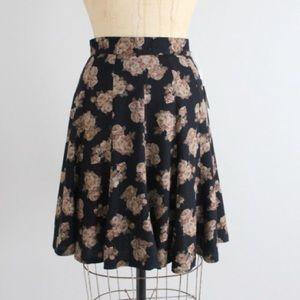 Vintage Dresses & Skirts - Vintage 1990's Black Floral High Waist Skirt