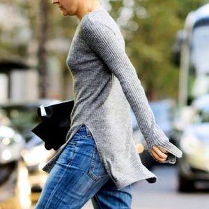 Zara Sweaters - Zara grey ribbed slit sweater knit S