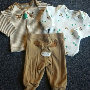 Carter's Other - 3 pc moose outfit sz NB