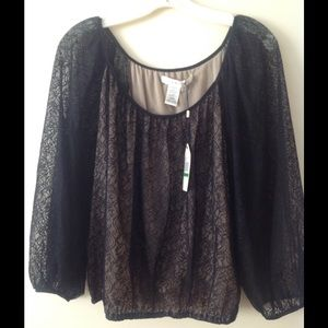 Studio M Tops - NWT Size L Studio M Nude and Lace top