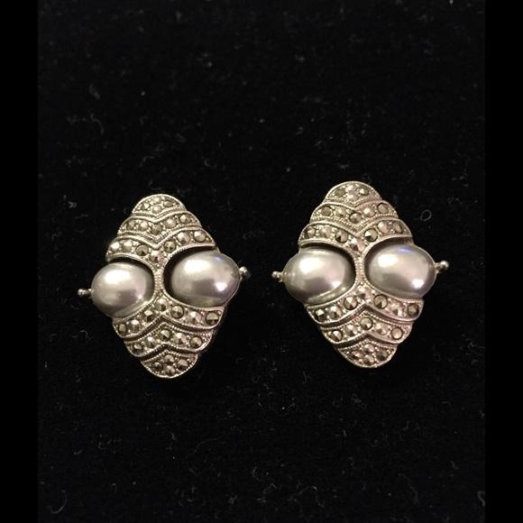 Sterling Silver Peridot & Marcasite & Black Enamel Drop Earrings & Ring Set Hair & Head Jewelry Women's Accessories