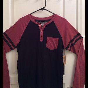 Long Sleeve Shirt Black & Rusty Red