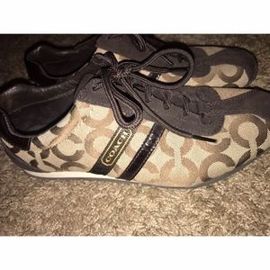 Coach Shoes - Coach tennis shoes, dark brown and tan. Worn once