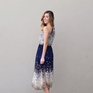navy flowy midi dress