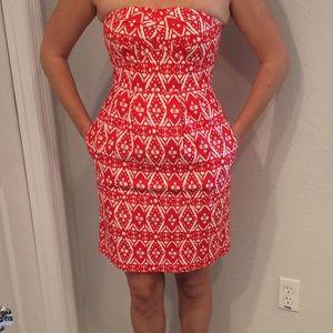 J..Crew Strapless Red & White Dress