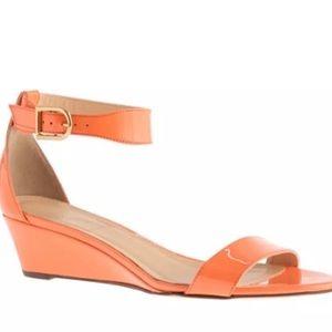 J. Crew Shoes - JCREW Lillian WEDGE LOW sandal heel Leather ORANGE