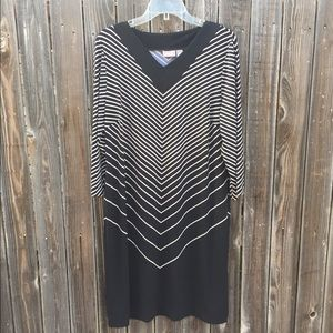 Chicos size 2 black and white striped dress