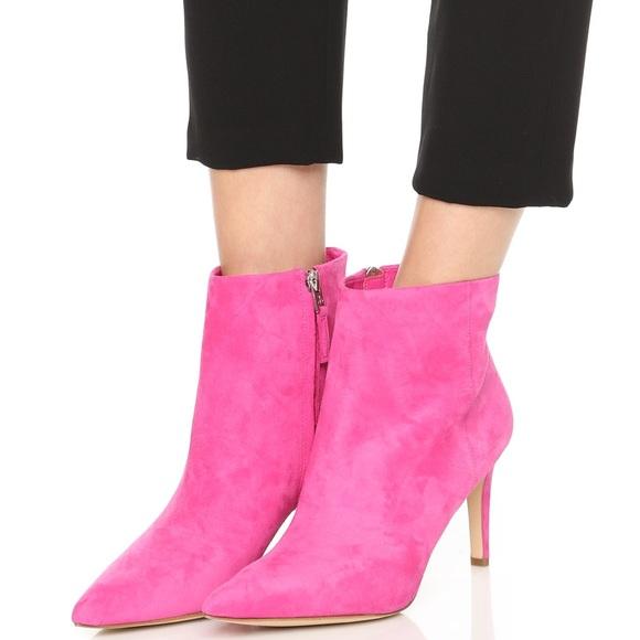 80c4f2cf2f5ff Sam Edelman suede hot pink boots. M 58cf2b5ff09282def503e590
