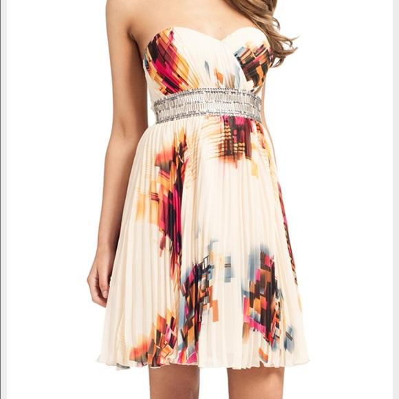 Little Mistress Silver Sequin Print Bandaeu Strapless Dress Size 12 NWT
