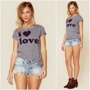 "Chaser Tops - Chaser ""I Heart Love"" Soft Gray Tee"