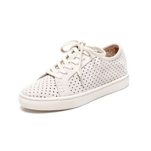 Soludos Shoes - Perforated Lace Up Suede Sneaker in Seashell