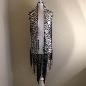 Chico's Accessories - Chico's Brown and Turquoise Beaded Shaw Wrap