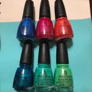 6 China Glaze nail polish.