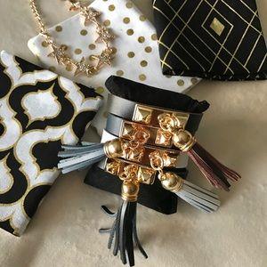 Jewelry - ✨New! Studded Leather Tassel Bracelet (Brown)