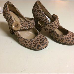Cheetah block heel maryjanes size 6.5