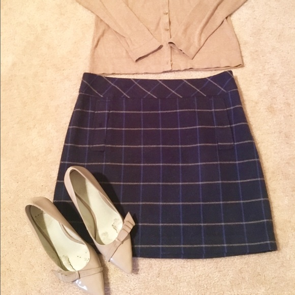 72 loft dresses skirts adorable navy blue plaid