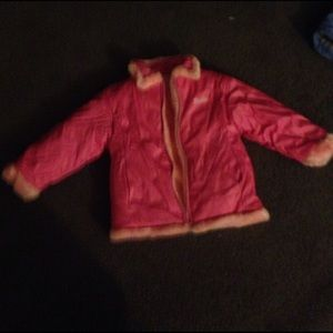 Barbie Other - Girls Barbie faux fur lined warm coat pink sz 5/6
