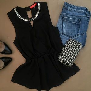 Tops - Black top with rhinestone detail