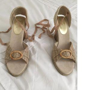 Cole Haan Shoes - Cole Haan Canvas Jute Wedge Ribbon Strap Shoes