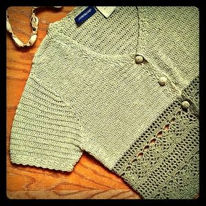 Jordache Tops - Vintage Chic SS Cropped Crochet Cardigan