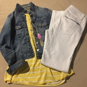 CAbi White Fit and Flare Jeans