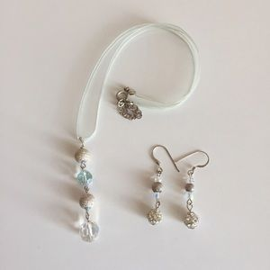 Jewelry - Light Blue Ribbon Necklace with Crystals