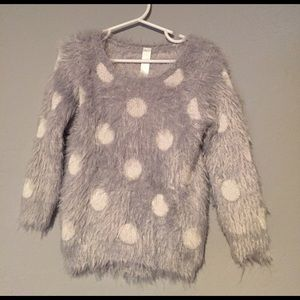 Fuzzy Grey with White Polka Dot Sweater - Cherokee