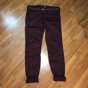 Pull&Bear Pants - Pull & Bear Maroon Chinos with Belt