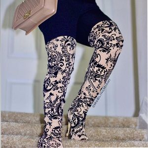 Liliana Shoes - Nude Black Velvet Etched Thigh High Boots