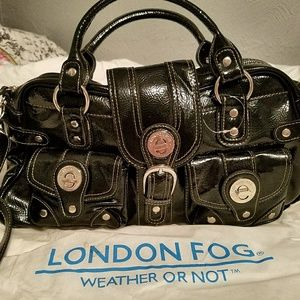 London Fog Audrey Faux Patent Leather Satchel