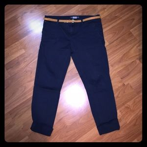 Pull&Bear Pants - Pull & Bear Navy Blue Chinos with Belt