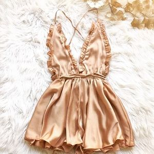 Pants - Champagne Satin Backless Romper