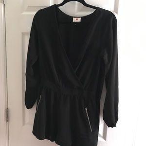 Long sleeved, black, low cut romper