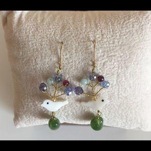 Jewelry - ❤️Dainty Gold Dangle Earrings w/Bird and Beads❤️