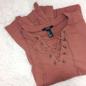 FOREVER21 mauve long sleeve lace-up sweater