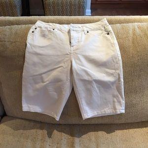 Liverpool Jeans Company Pants - White Denim Bermuda Shorts-Liverpool Jeans Company