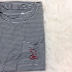 DISNEY black+white striped short sleeve top