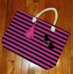 Target  Handbags - 🆕Pink/Navy striped beach tote