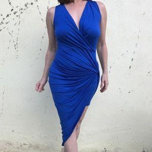 NEW Blue BODYCON wrap drape twisted DRESS SZ M/L