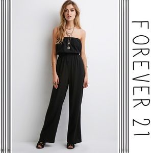 NWT Forever21 Lightweight Black Strapless Jumpsuit