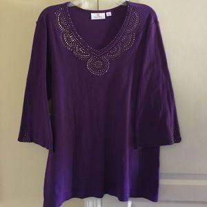 Quacker Factory Tops - Quacker Factory purple jeweled top