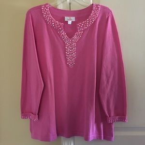 Quacker Factory Tops - Quacker Factory pink jeweled top