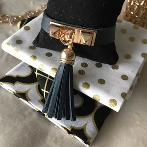 ✨New! Studded Leather Tassel Bracelet (Navy Blue)