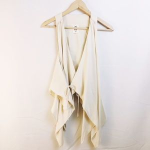 ever Tops - EVER cream white silk wrap drapey tank top