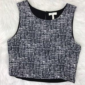 Joie Tops - Joie Black & White Tweed Sleeveless Crop Top