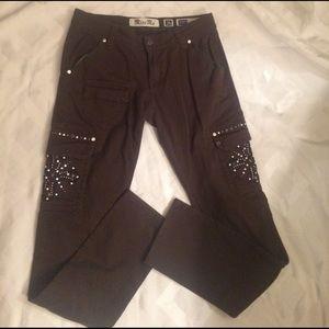Miss Me cargo gray skinny pants bling so cute ☀️