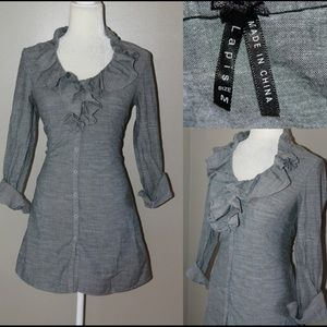 Lapis Tops - LAPIS gray button Down Tunic blouse